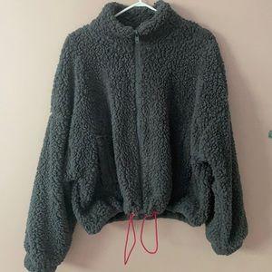 Grey fluffy teddy jacket with drawstrings